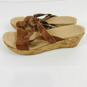 Crocs A-Leigh Leather Cork Wedge Sandals